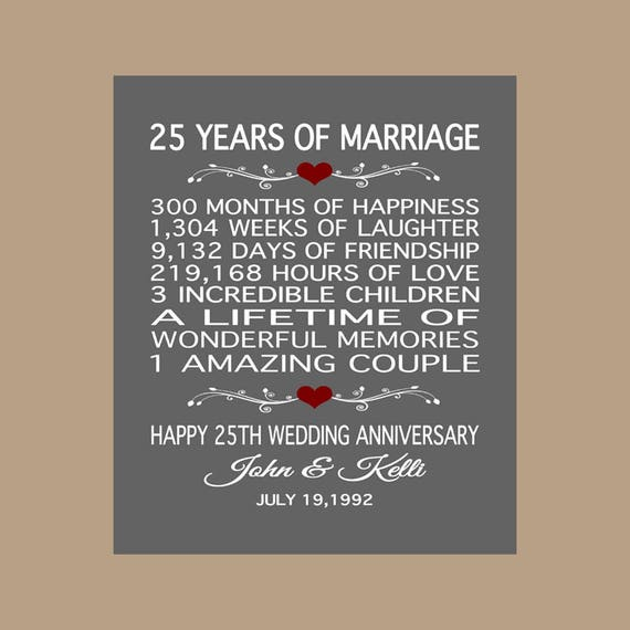 Anniversary Gift Lists By Year: 25th Anniversary Gift 25 Years Anniversary Gift 25th