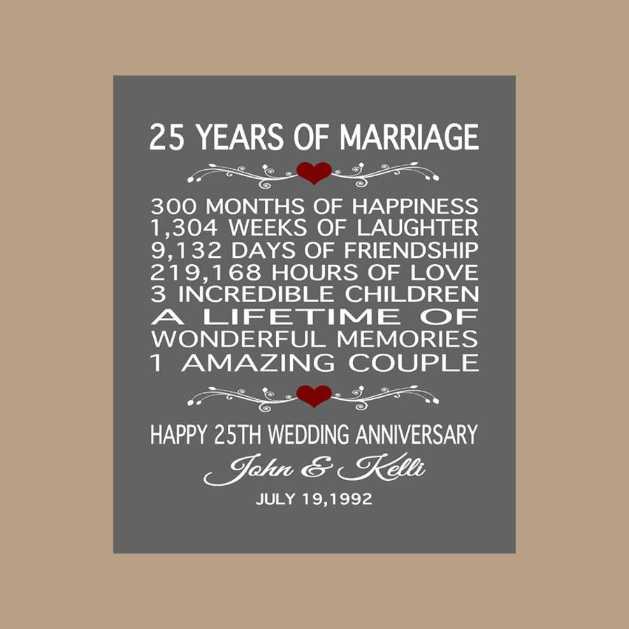Gifts For 25 Year Wedding Anniversary: 25th Anniversary Gift 25 Years Anniversary Gift 25th