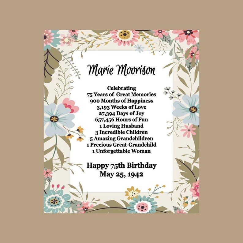 75th Birthday Gift 75 Print 1943 Custom Printable Keepsake PDF Digital