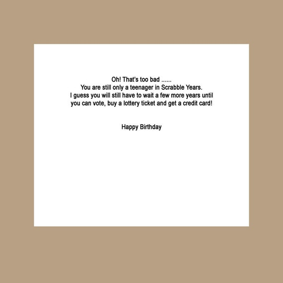 18th Birthday Card Funny Birthday Card The Big 18 Scrabble Etsy