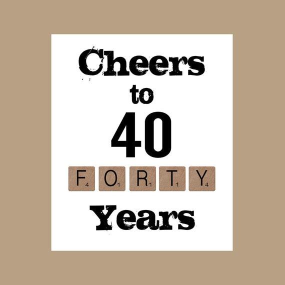 40 Jahre Ein Hoch Auf 40 Jahre Bedruckbar 40 Geburtstag Etsy