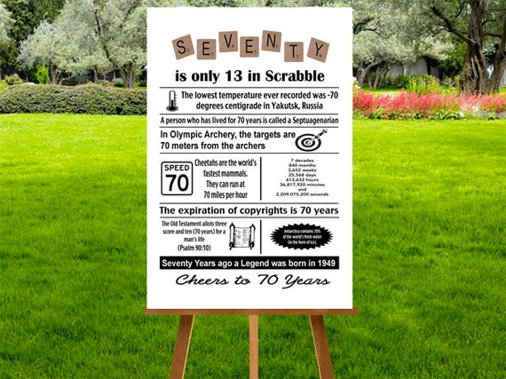 70th Birthday Poster, 70th Birthday Party Decor, 1949 Birthday Gift, 70  Birthday Print, 70 Birthday Sign, 70 Years, INSTANT DOWNLOAD