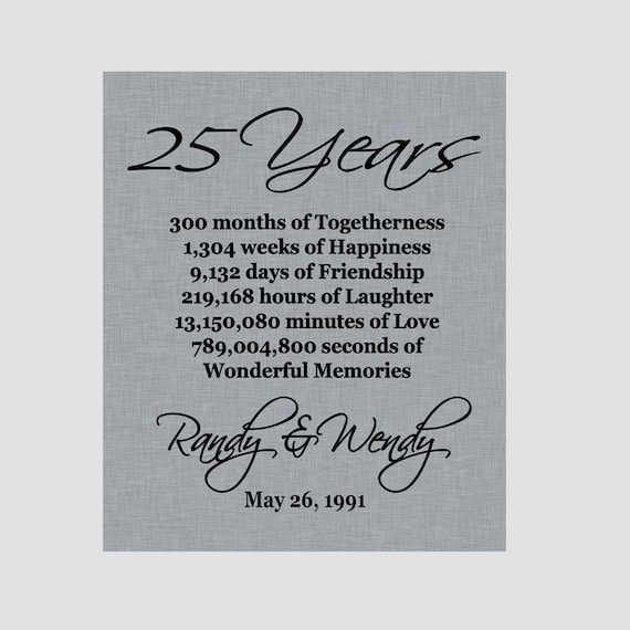25th Wedding Anniversary Quotes: 25th Anniversary Print Silver Anniversary Parents