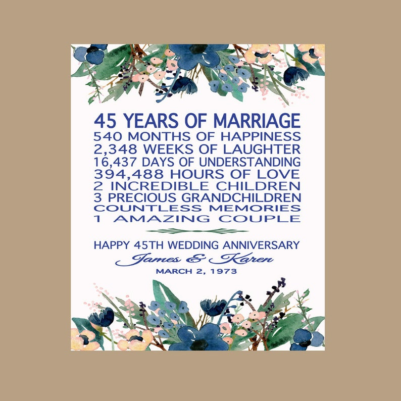 45th Wedding Anniversary Gift For Parents Sapphire Etsy