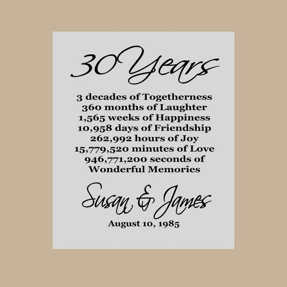 30 Wedding Anniversary Gifts: 30th Anniversary Gift Pearl Anniversary Personalized 30th