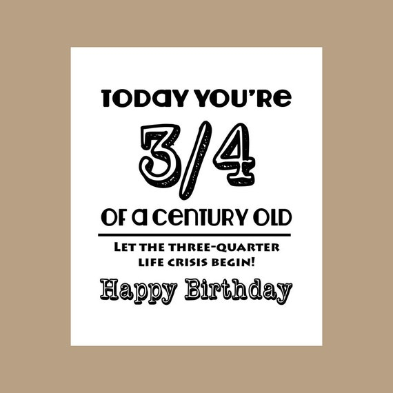 75th Birthday Card 3 4 Century Old Milestone 1943