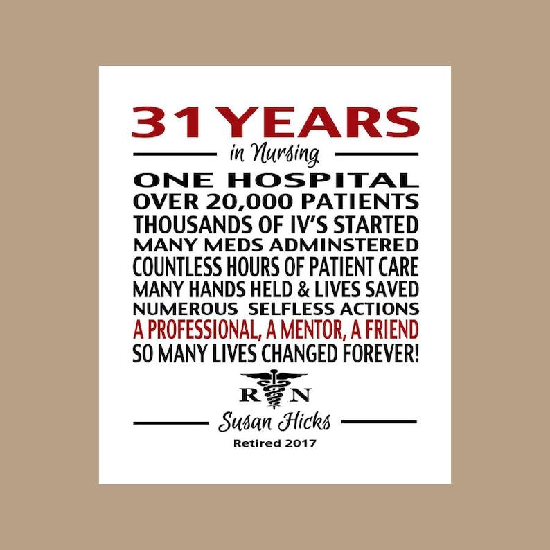 b15a8310d027 Nurse Retirement Gift Nurse Retirement Print Nurse