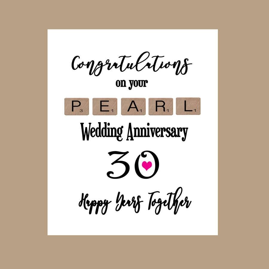 30. Jahrestags-Karte 30 Jahre verheiratet Perlenhochzeit