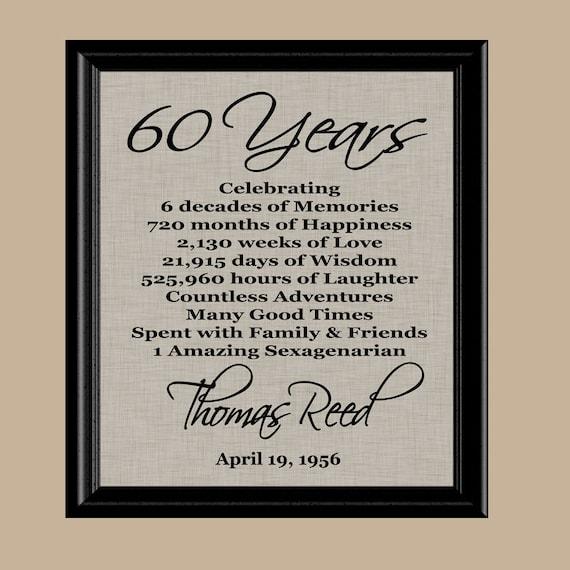 60 Birthday Print 60th Gift 1958 Mom