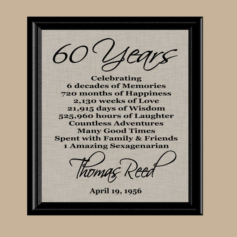 60 Birthday Print 60th Gift 1959 Mom