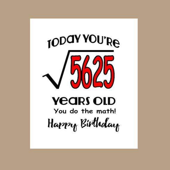 75th Birthday Card Geek Birthday Card 1943 Birthday Nerd Etsy