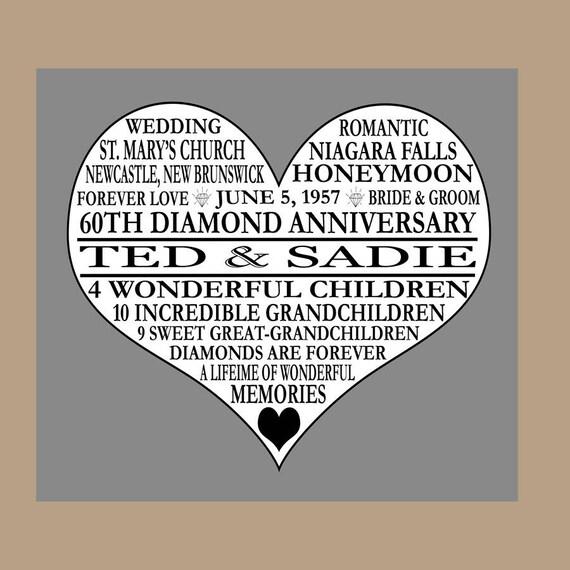Diamond Wedding Anniversary Gifts For Grandparents: 60th Anniversary Print Diamond Anniversary Parents