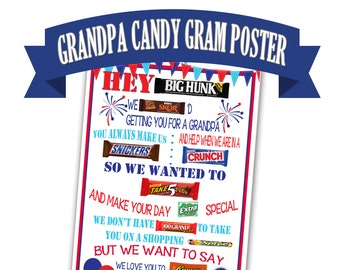 Candy Gram Poster For Grandpa Birthday Gift Printable Fathers Day Cand Bar