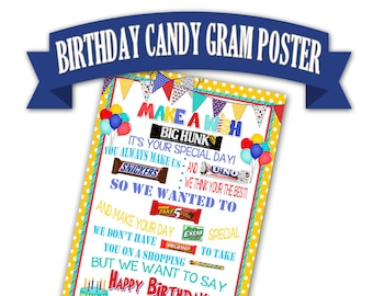 Birthday Poster Candy Bar Gift For Friend Printable Gram