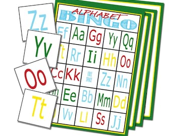 Alphabet bingo and letter matching game combo pack alphabet alphabet bingo 25 cards printable alphabet game alphabet cards joy school game preschool learning game letter recognition easy party spiritdancerdesigns Image collections