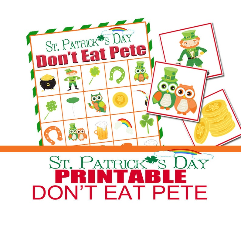 graphic regarding Don T Eat Pete Printable called St. Patricks Working day Social gathering Sport, Dont Consume Pete, Community Recreation, St. Pattys Printable Sport, Cl Celebration, St. Patricks Sport, Preschool Match, Simple