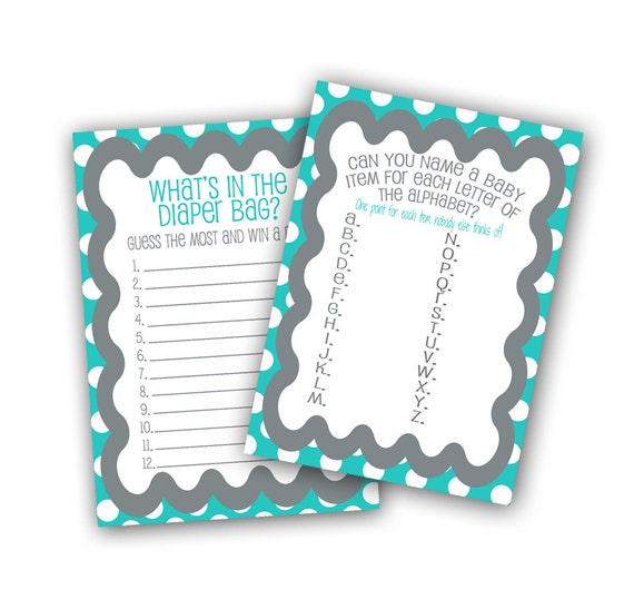 Two Printable Baby Shower Games, What's in the Diaper Bag and Letters of  the Alphabet, 5x7 Baby Shower Printable Games, Aqua and Grey