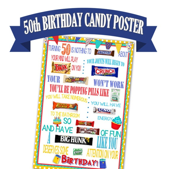 50th Birthday Poster Candy Bar Gift For Etsy