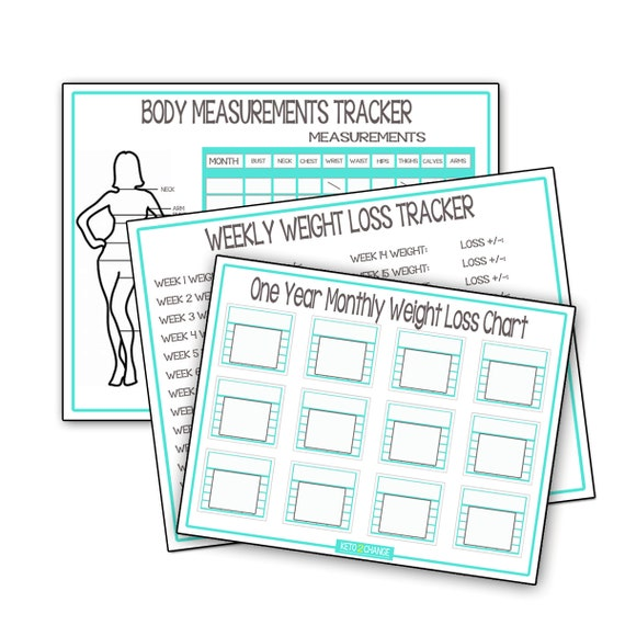 Weight Loss Recording Charts Monthly Weight Loss Chart Body Etsy
