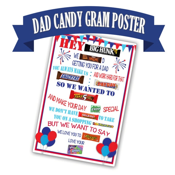 Candy Gram Poster For Dad Bar Birthday Gift
