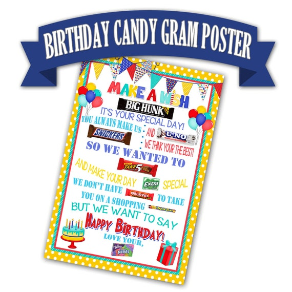 birthday poster candy bar poster birthday gift for friend etsy