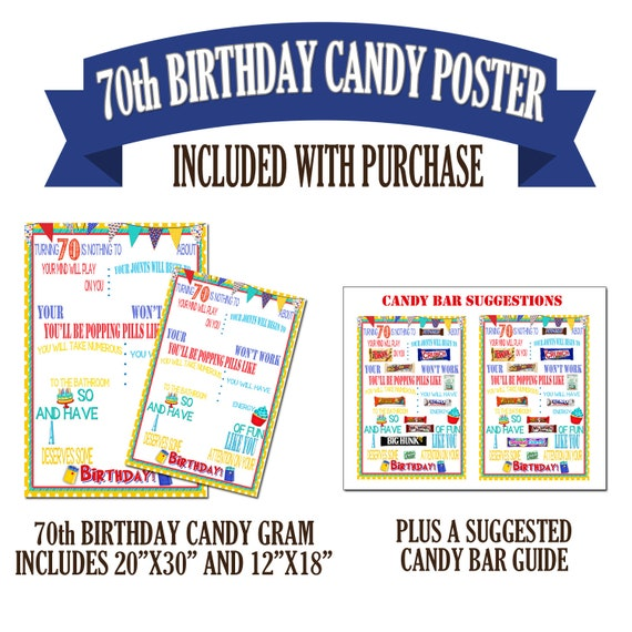 70th Birthday Poster Candy Bar Gift For Etsy