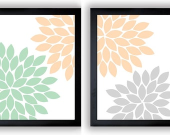 Flower Print Mint Green Peach Grey Gray Chrysanthemum Flowers Art Print Set  Of 2 Wall Decor Modern Minimalist Bathroom Bedroom