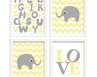SOFORTIGER DOWNLOAD gelb grau Elefant Kinderzimmer Kunst | Etsy