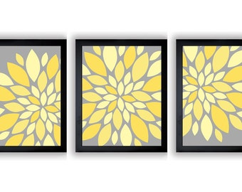INSTANT DOWNLOAD Grey Yellow Dahlia Flower Set of 3 Art Printable Abstract Art Flower Print Wall Decor Modern Minimalist Bathroom Bedroom