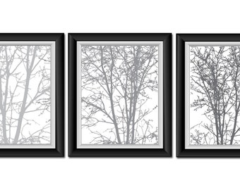 INSTANT DOWNLOAD Tree Wall Decor Grey Gray White Set of 3 Print Abstract Art Modern Minimalist Bathroom Bedroom Landscape Printable