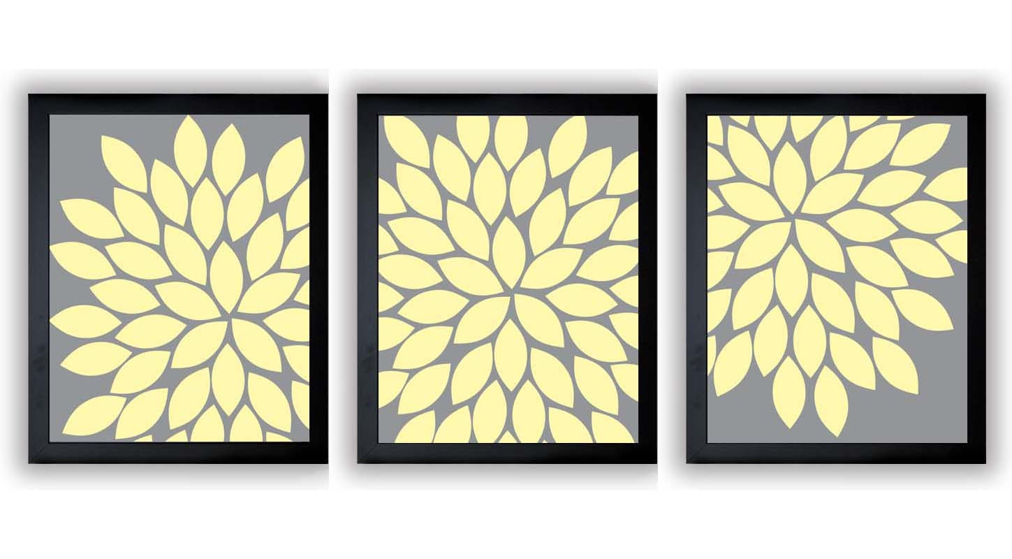 INSTANT DOWNLOAD Grey Gray Yellow Chrysanthemum Set of 3 Art | Etsy