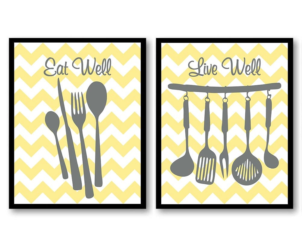 INSTANT DOWNLOAD Gray Yellow Grey Kitchen Wall Decor Set of 2 | Etsy