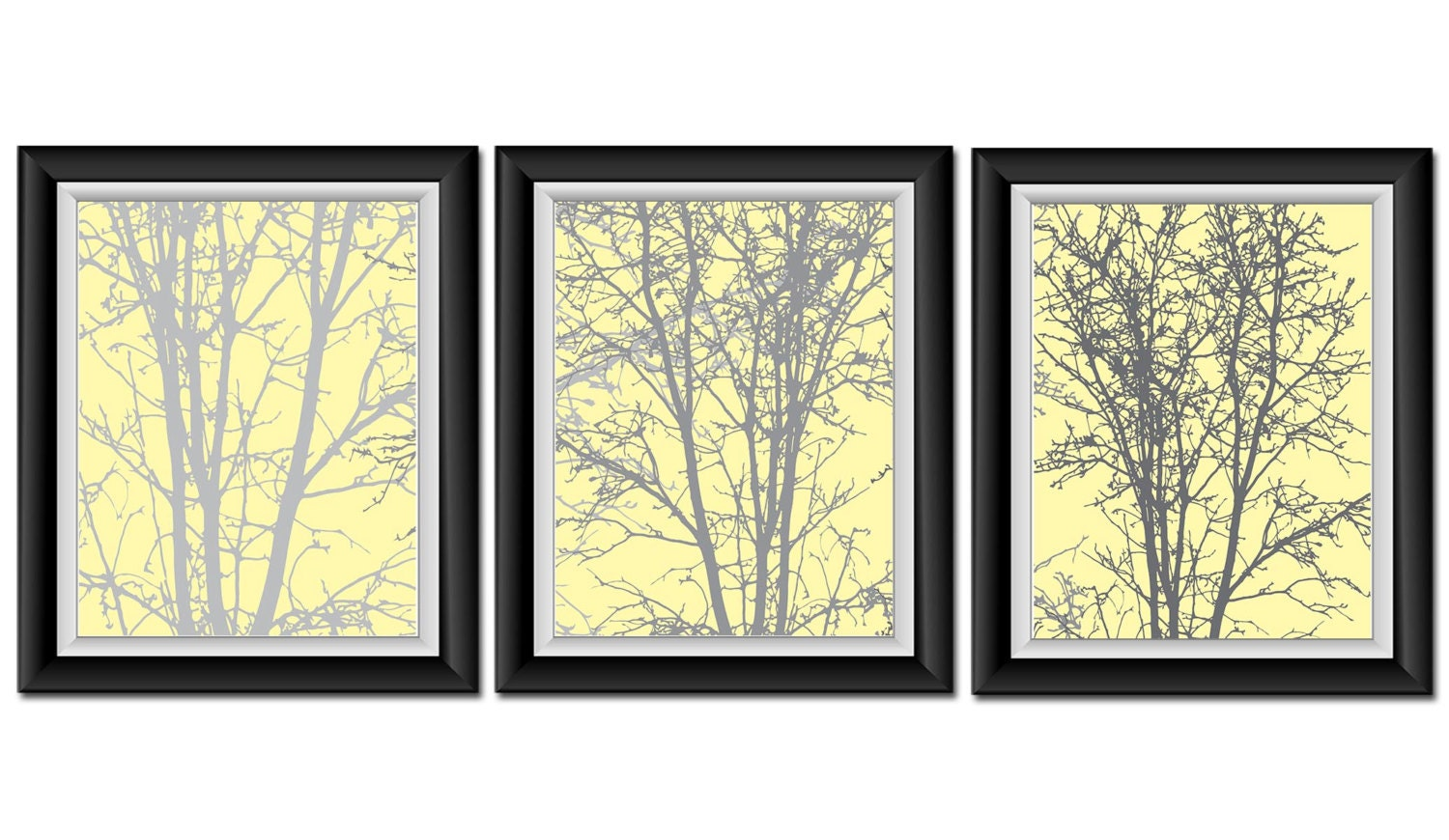 INSTANT DOWNLOAD Tree Wall Decor Yellow Grey Gray White Set of | Etsy
