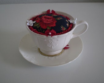 White French Coffee Cup Pincushion