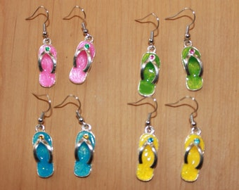 491b290e6992a Flip Flops with gems dangle earrings zorries zory sandals thongs beach  flipflops vacation summer Hawaii Florida