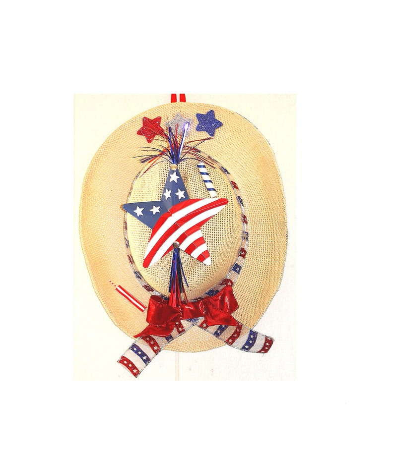 Patriotic Western Cowboy Hat Door Hanger Wreath 4th of July Fourth Independence Day Americana vaquero