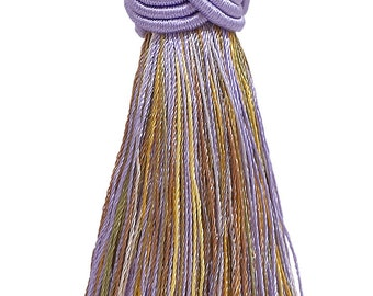 5 Yard Value Pack of Lilac Gold 2 Baroque Onion Tassel Fringe 8426 Style# TFB2PK Color Winter Lilac 15 Ft  4.