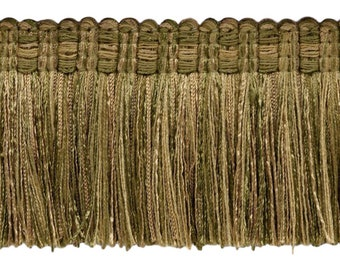 Medium Gold|Style# TFV025|Color Ol 5 Yard Value Pack of Veranda Collection 2.5 Inch Tassel Fringe Trim|Artichoke Green