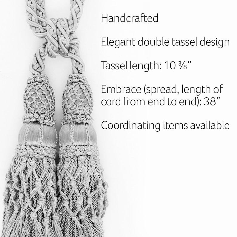 Artichoke Green Curtain and Drapery Large Double Tassel Tieback  10 tassel 38 S Pebble Pair of Beautiful Sandstone