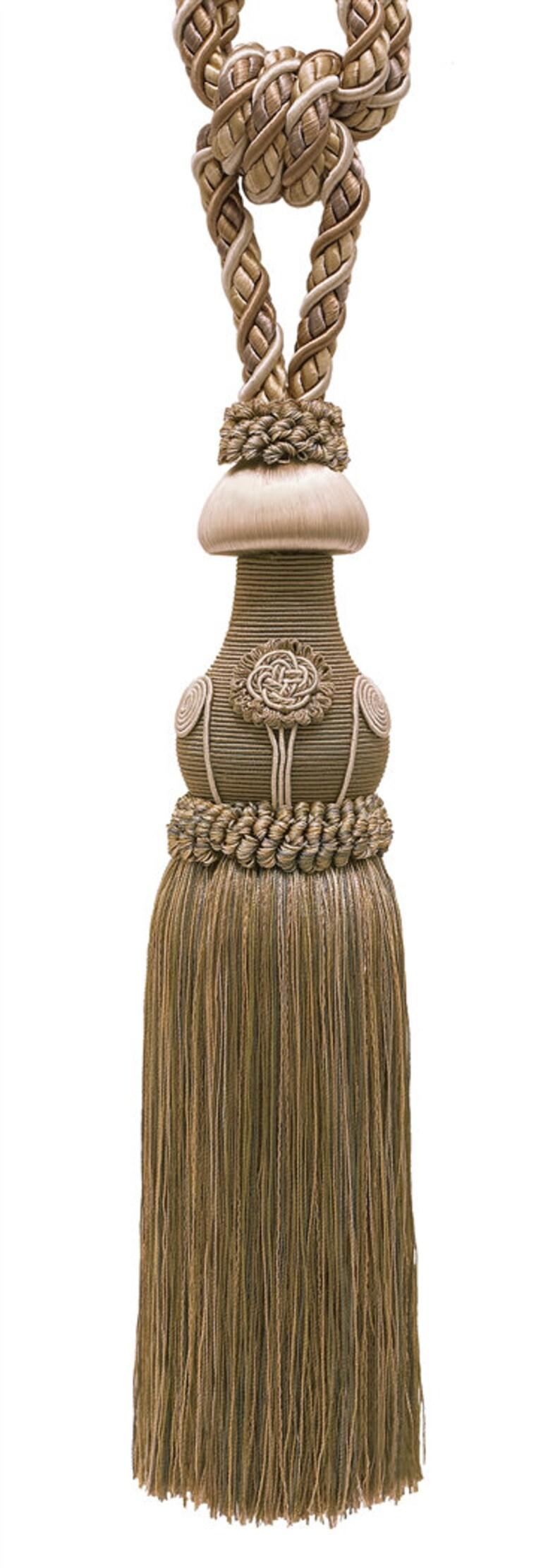Decorative Beige Multi Tone Curtain /& Drapery Tassel Tieback 12 tassel 716 Cord embrace Baroque Coll 32 Spread