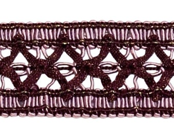 Vintage 1.5 Inch (3.8cm) Wide Dusty Mauve, Dark Plumgimp Braid Trim - Luscious Lavenders 2927 (sold by The Yard)