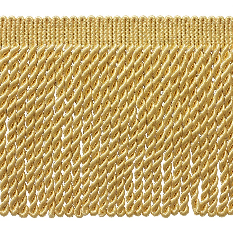 Style# BFS6 Color B7 Basic Trim Collection 6 Inch Long Light Gold Bullion Fringe Trim 15 Ft  4. 5 Yard Value Pack