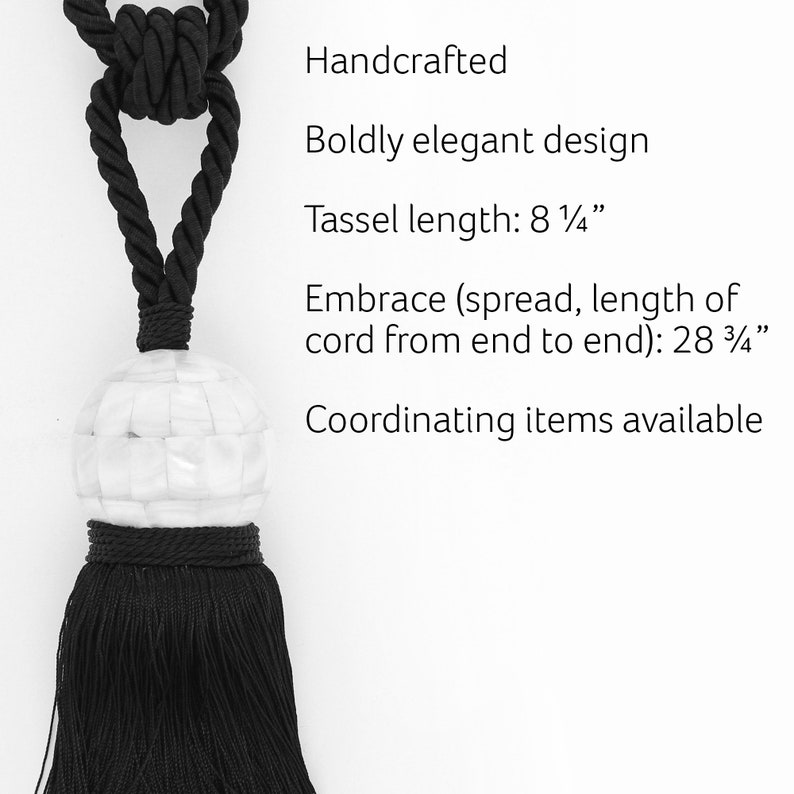 embrace 28 Spread Stunning Ivory Mother of Pearl Tassel Tieback With 8 12 Tassel Decorative Rope Holdback to Enh