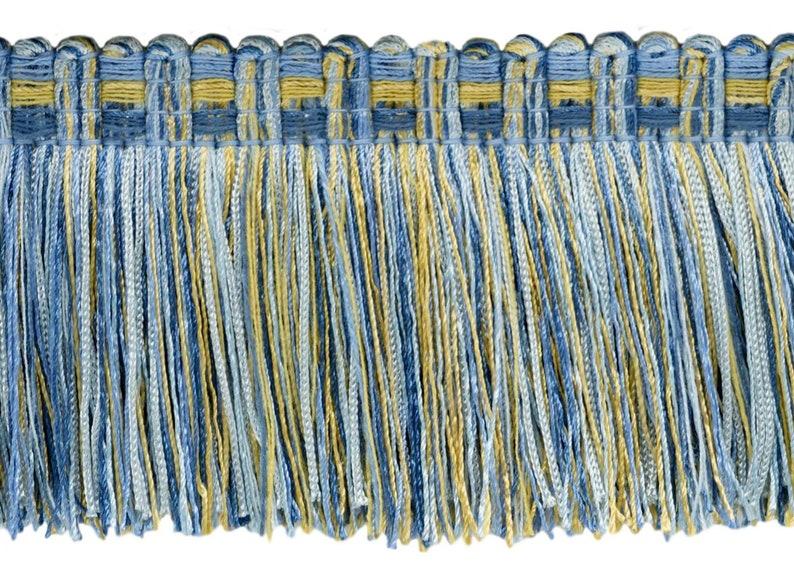 VNT13 Cadet Blue 18 Yard Package|3 Brush Fringe Trim|Champaigne Gold French Blue|Style# 0300VB|Color