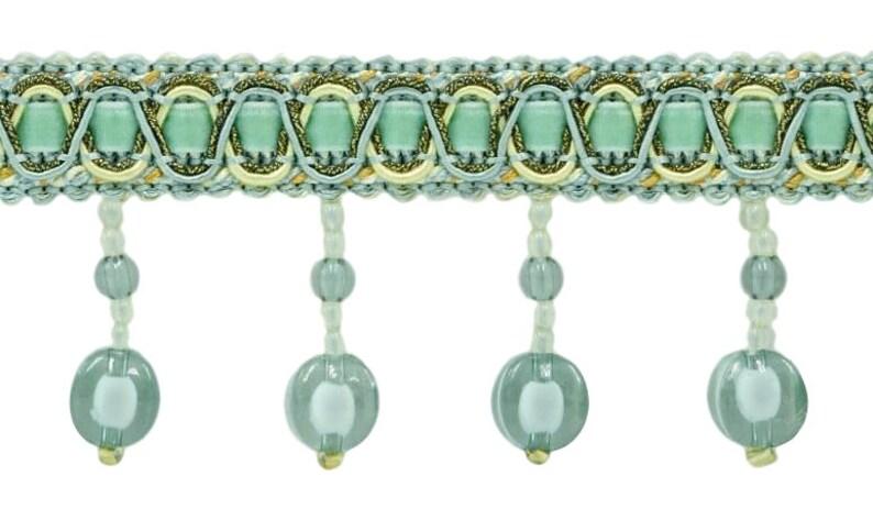 """4/"""" Exquisite Tassel Fringe Bead Trim Olive Gold Per Yard"""