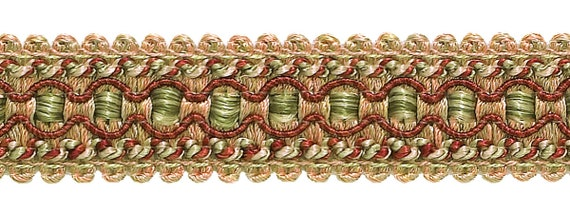 Sold by The Yard CRANBERRY HARVEST Burgundy Taupe Baroque Collection Gimp Braid 1//2 Style# 0050BG Color 8612