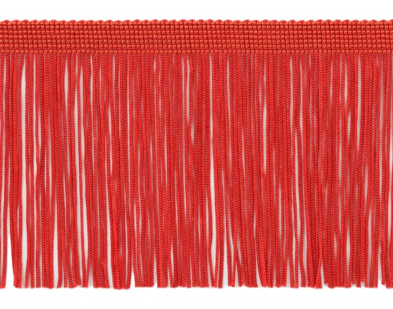 """RED 6/"""" Chainette Fringe Trim RED By The Yard"""