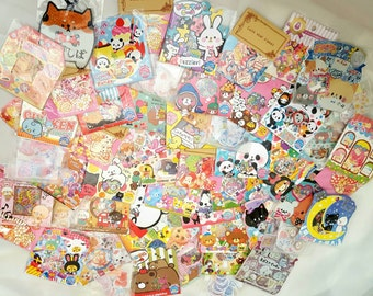 Kawaii Sticker Flakes Grab Sack Bag Lot Japanese Korean Scrapbooking Scrapbook Cute Glittery Great Party Favors Die Cut