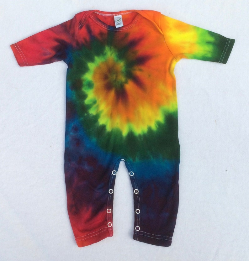 first present organic baby 0-3months Organic Sleepsuit spiral tie dye festival baby unique gift ethical Rainbow Tie Dye hippy baby