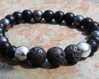 Masculine Lava Stone Diffuser Bracelet with Obsidian and Hematite Healing Stones, Magnetic Bracelet, Lava Bracelet, Fathers Day Gift for Dad